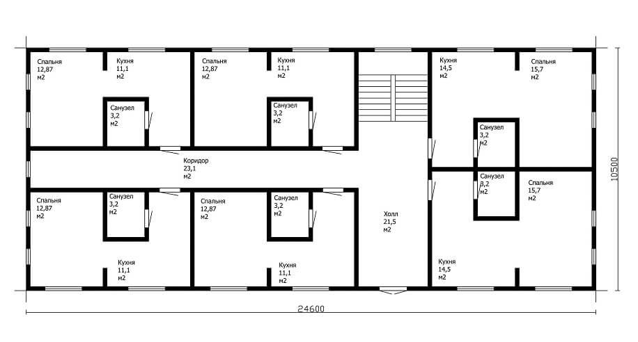 Проектирование жилого 2-х секционного дома малосемейного типа